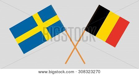Sweden And Belgium. The Swedish And  Belgian Flags. Official Colors. Correct Proportion. Vector Illu