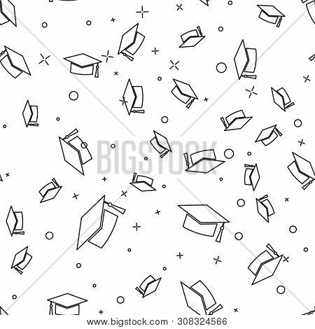 Black Graduation Cap Icon Isolated Seamless Pattern On White Background. Graduation Hat With Tassel