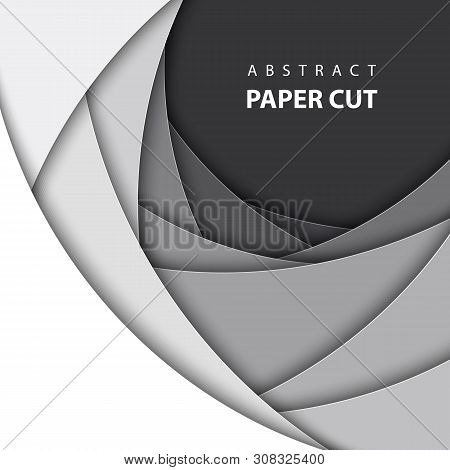 Vector Background With White And Black Color Paper Cut Shapes. 3d Abstract Paper Art Style, Design L