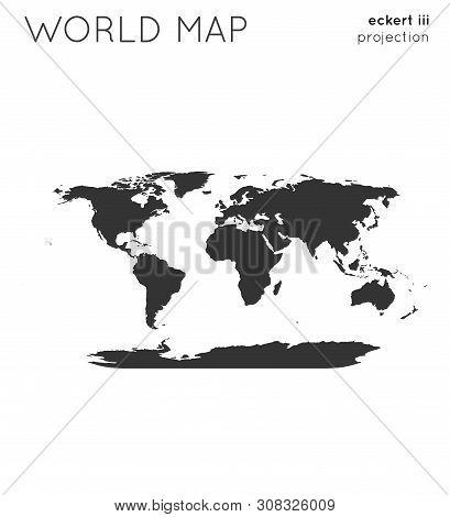 World Map. Globe In Eckert Iii Projection, Plain Style. Modern Vector Illustration.