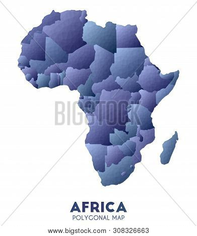 Africa Map. Actual Low Poly Style Continent Map. Bold Vector Illustration.