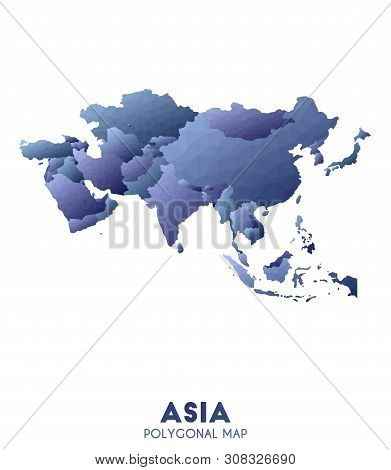 Asia Map. Actual Low Poly Style Continent Map. Exotic Vector Illustration.
