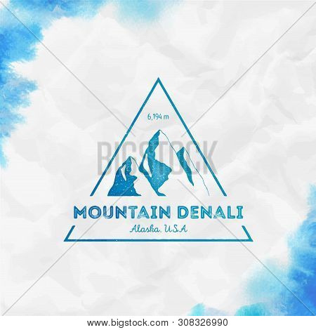Mountain Denali Logo. Triangular Mountain Turquoise Vector Insignia. Denali In Alaska, Usa Outdoor A