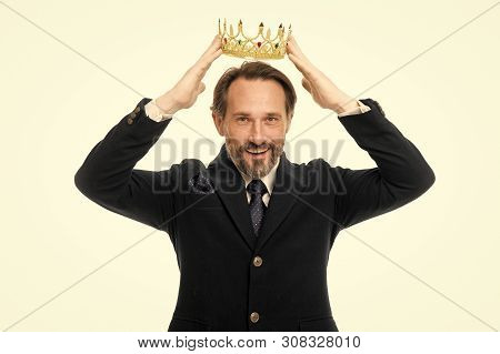 Become Next King. Monarchy Family Traditions. Man Nature Bearded Guy In Suit Hold Golden Crown Symbo