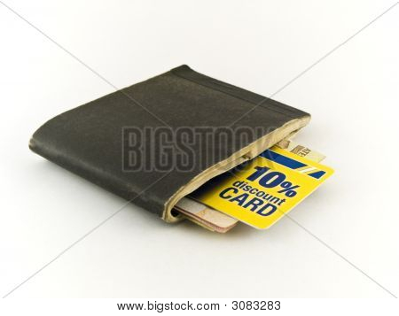 Old Chequebook And Discount Credit Card On White Background