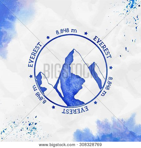 Everest Logo. Round Stamp Blue Vector Insignia. Everest In Himalayas, China Outdoor Adventure Illust