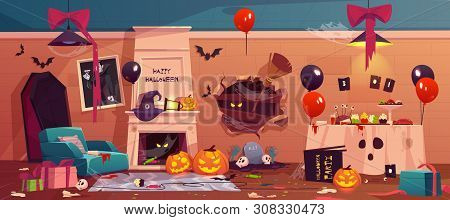 After Party Mess In Halloween Decorated Room, Empty Messy Dirty Afterparty Interior With Scattered L