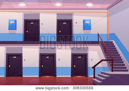 House Entrance Interior, Empty Hallway Or Corridor With Numbered Doors, Stairs, Tiled Floor And Elec