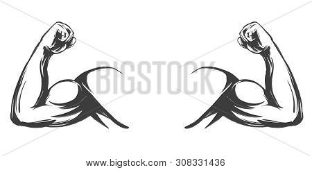 Arm, Bicep, Strong Hand Icon Cartoon Symbol Hand Drawn Vector Illustration Sketch