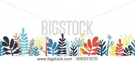 Abstract Leaves Border Frame Bottom Horizontal Seamless Vector Illustration. Abstract Flowers, Leave