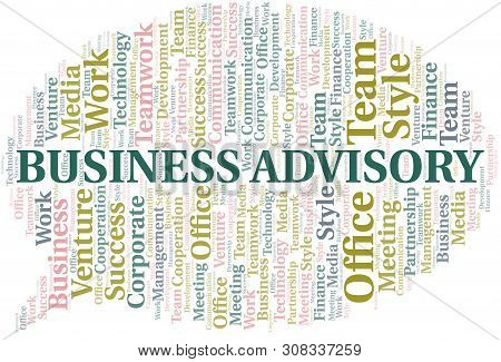 Business Advisory Word Cloud. Collage Made With Text Only.