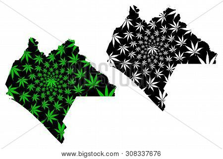 Chiapas (united Mexican States, Mexico, Federal Republic) Map Is Designed Cannabis Leaf Green And Bl