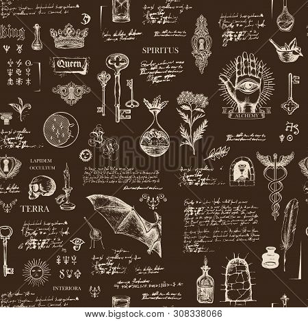 Vector Seamless Pattern In Vintage Style On Theme Of Alchemy, Magic, Witchcraft And Mysticism With S
