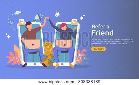 Refer A Friend Affiliate Partnership And Earn Money. Marketing Concept Strategy. People Character Sh