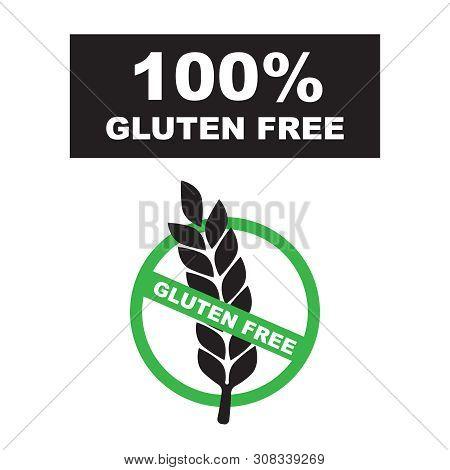 Gluten Free Label. Food Logo Icon. White Gluten Free Sign