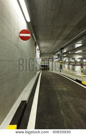 new underground parking, prohibition signal