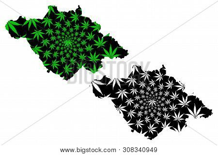 Tlaxcala (united Mexican States, Mexico, Federal Republic) Map Is Designed Cannabis Leaf Green And B