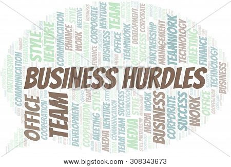 Business Hurdles Word Cloud. Collage Made With Text Only.