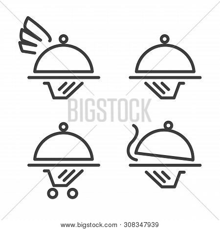 Catering Logo Icons. Outdoor Restaurant Signs, Elegant Line Caterer Cuisine Business Icon Set, Cater