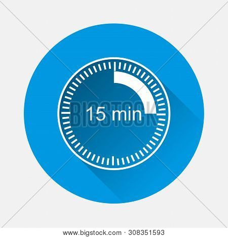 Clock Icon Indicating The Time Interval Of 15 Minutes On Blue Background. Flat Image Fifteen Minutes