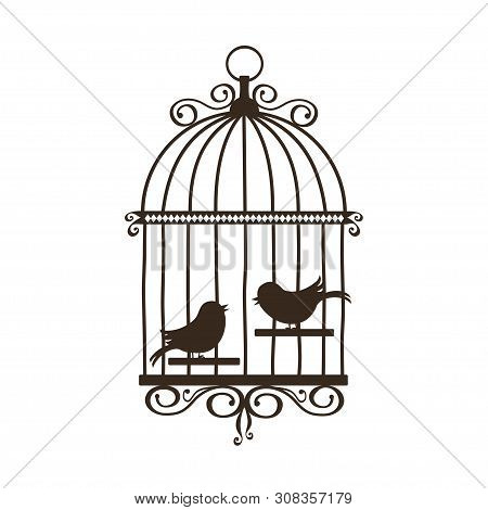 Silhouette Of Vintage Birdcage On White Background