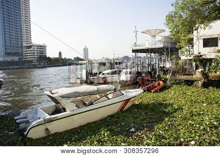 Fireboat And Vessel Municipal Garbage With Eichhornia Crassipes Or Common Water Hyacinth And Many Ga