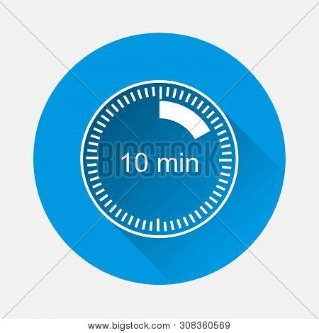 A Clock Icon Indicating The Time Span Of 10 Minutes On Blue Background. Flat Image Time Span Is Ten