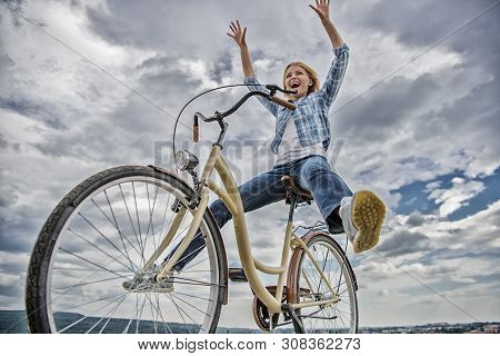 Freedom And Delight. Woman Feels Free While Enjoy Cycling. Most Satisfying Form Of Self Transportati