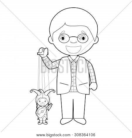 Easy Coloring Puppeteer Cartoon Character From Czech Republic With Typical Puppet. Vector Illustrati