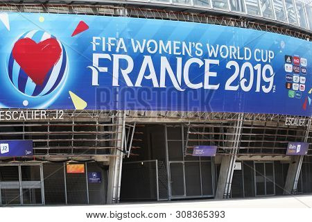 Grenoble, France - June 15, 2019: Facade Of The Stade Des Alpes In Grenoble During The Fifa Womens W