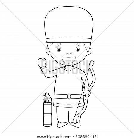 Easy Coloring Cartoon Character From Hungary Dressed In The Traditional Way As A Magyar Warrior. Vec