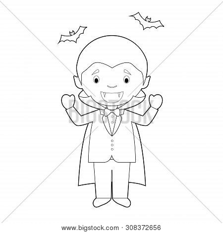 Easy Coloring Cartoon Character From Romania Dressed As A Vampire Of Transilvania. Vector Illustrati