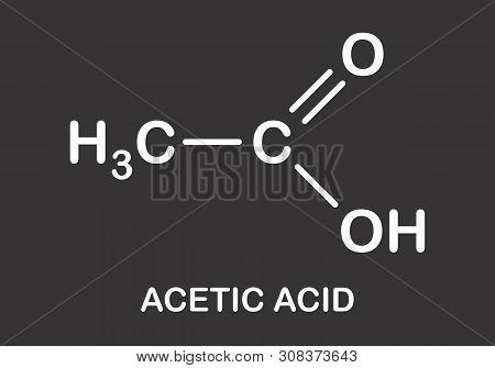 Illustration Of Acetic Acid Formula On Dark Background