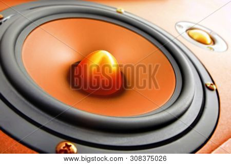 Hifi Gold And Black Loud Speaker Box In Close Up.professional Audio Equipment For Dj,musician,party.