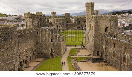 Caernarfon, Wales, June 11. Caernarfon Castle On June 11, 2019, In Wales, Great Britain. A Caernarfo
