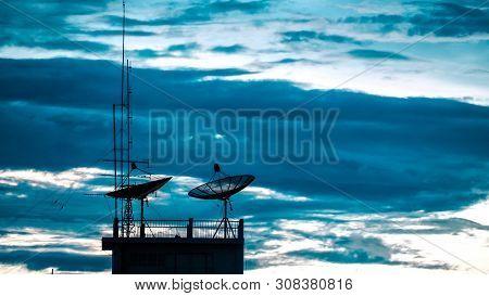Satellite Dish Sky Sunset Communication Technology Network Image Background For Design. Satellite Di