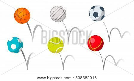 Bounce Balls Sport Playing Equipment Set . Basketball And Soccer Or Football, Volleyball And Tennis