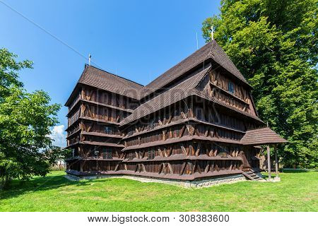 Bardejov, Slovakia - August 06, 2015: Hronsek. Old Fully Wooden Church.
