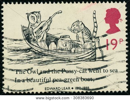 Vintage Stamp Printed In Great Britain 1988 Shows Nonsensical Drawings By Edward Lear