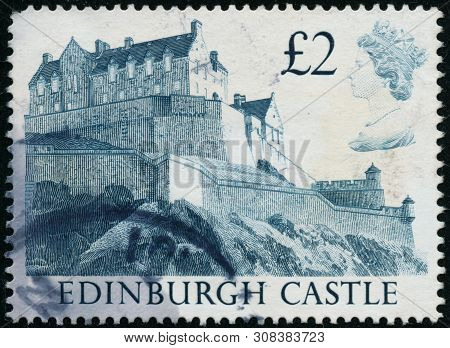 Vintage Stamp Printed In Great Britain 1988 Shows Edinburgh Castle
