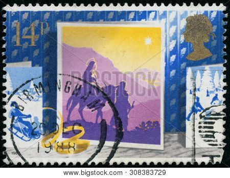 Vintage Stamp Printed In Great Britain 1988 Shows Christmas