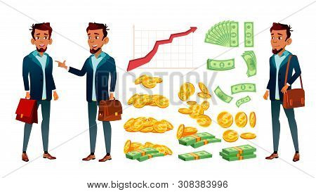 Character Banker And Grow Currency Graphic . Young Businessman Banker In Suit With Case, Red Arrow, Golden Coin And Dollar Banknote Money. Financial Worker Flat Cartoon Illustration poster