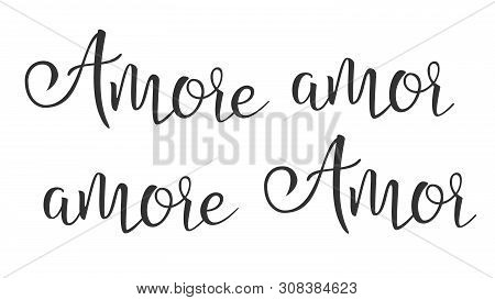 Funny Modern Calligraphy Ink Of Word Amor . Stylish Typography Inscription With Different Handwritte