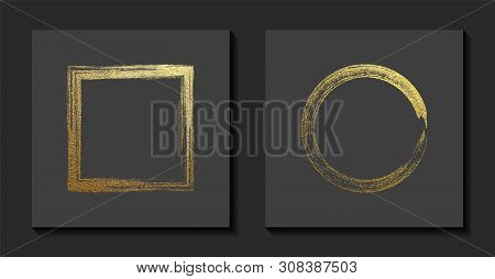 Square And Round Golden Frames On A Grey Background. Luxury Vintage Border, Label, Logo Design Eleme