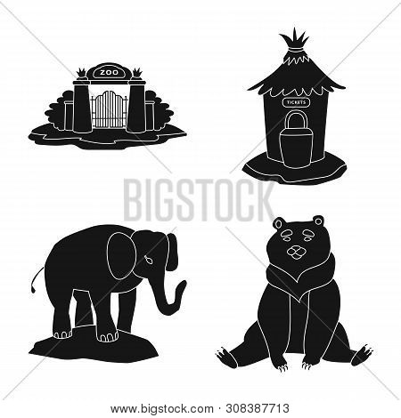 poster of Isolated object of fauna and entertainment sign. Collection of fauna and park stock vector illustration.