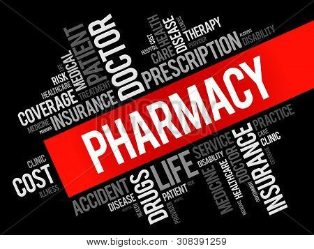 Pharmacy Word Cloud Collage, Health Concept Background
