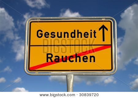 German Road Sign Smoking And Health
