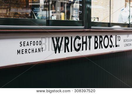 London, Uk - June 15, 2019: Close Up Of Wright Bros Seafood Merchant Stall Inside Spitalfields Marke
