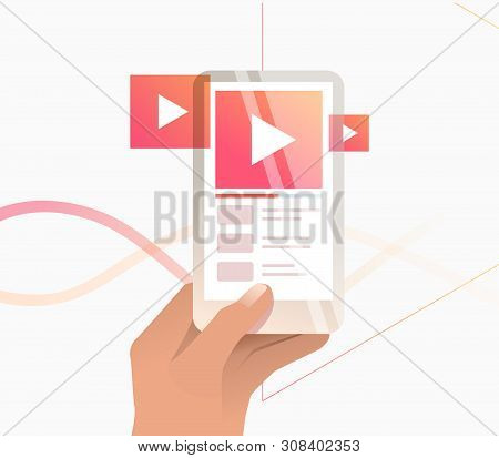 Hand Holding Digital Device With Online Player Interface. Watching Video, Playlist, Smartphone. Stre