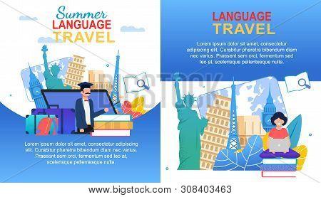 Summer Language Travel Banner Set. Cartoon Girl With Notebook Multilingual Learn. Man Teach English